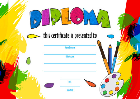 childrens diploma certificate for delivery on a creative contest in kindergarten or school