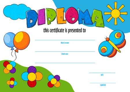 awarded: template of child diploma or certificate to be awarded Illustration