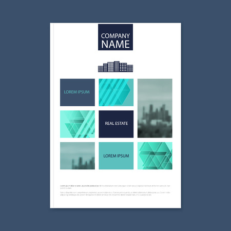 photo real: Brochure template design. Concept of architecture design with photo frame. Brochure template for real estate company. Brochure template for print or website.