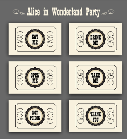 eat me: Alice in Wonderland vector set with labels Eat me, Drink me, Open me, Not poison, Thank you. ideal for decoration at a wedding Banquet or a birthday party.