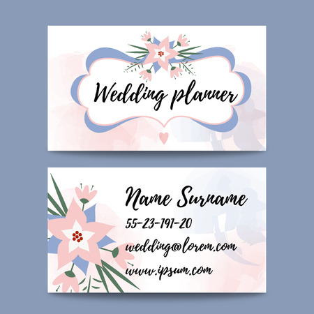 organizer: Vector pastel feminine business card template mockup with logo flower. Suitable for wedding planners or florist owners. wedding stationery business