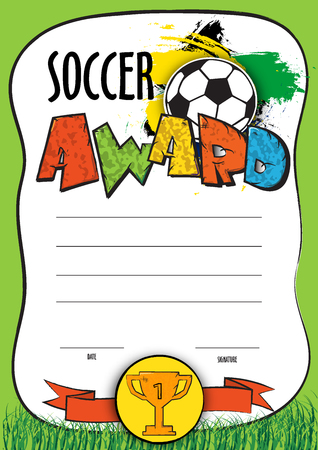 soccer coach: vector template certificate soccer championship. child diploma to be awarded to the winners, players, the best goalkeeper or the coach at a football match.