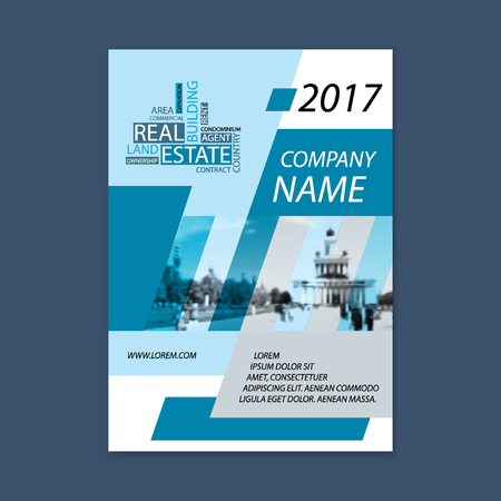 Brochure template design. Concept of architecture design with wordcloud. Vector illustration. Brochure template for real estate company. Brochure template for print or website. - stock vector