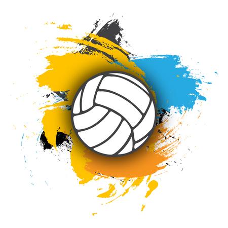logotipo de voleibol del vector en el fondo de pinceladas multicolores. la bola del voleibol para la bandera, cartel o un volante en un tema de voleibol. - Vector stock Logos