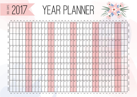 yearly: Year Wall Planner. Plan out your whole year with this 2017 Wall Year Planner. Yearly Wall Calendar Planner Template. Vector Design Template Illustration