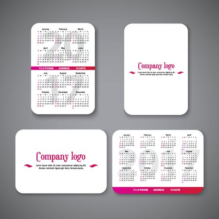 template clean design pocket calendar 2017 with place for the company. vector illustration. Vertical and horizontal pocket calendar page