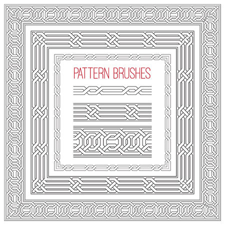 Set of vector celtic frame for design. Pattern brushes collection. Vector knotted ornament