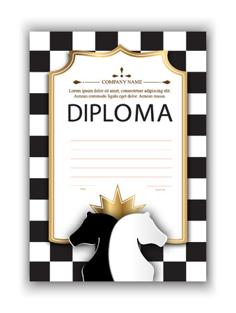 vector template certificate of the winner of the chess tournament. diploma of participation in a chess competition for printing. Chess vector background  イラスト・ベクター素材