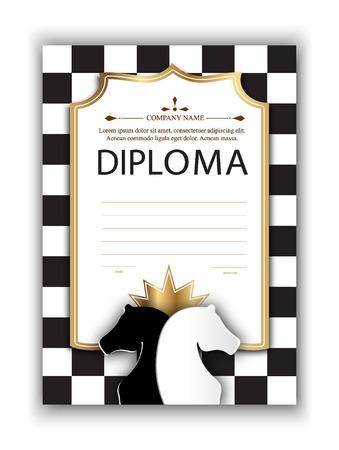 Vektor-Vorlage-Zertifikat der Gewinner des Schachturnier. Diplom für die Teilnahme an einem Schachwettbewerb für den Druck. Schach-Vektor-Hintergrund