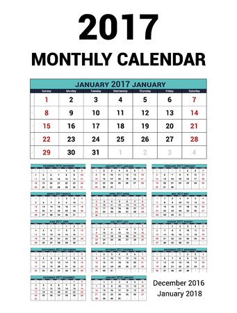 personal data assistant: Calendar monthly for 2017 Year. Vector Stationery Design Print Template. Week Starts Sunday. 14Months - december 2016 - January 2018. Calendar 2017 grid. Illustration