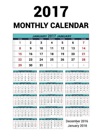 quarterly: Calendar monthly for 2017 Year. Vector Stationery Design Print Template. Week Starts Sunday. 14Months - december 2016 - January 2018. Calendar 2017 grid. Illustration