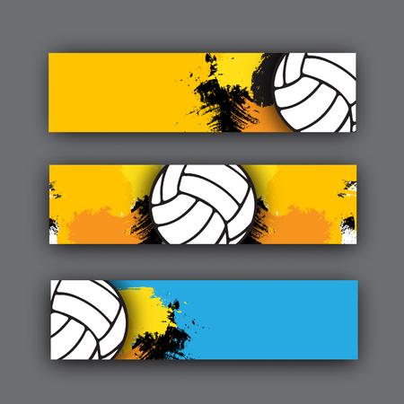 collezione di vettore di tema banner pallavolo. palla di pallavolo su sfondo. intestazione di beach volley per il sito web o la stampa