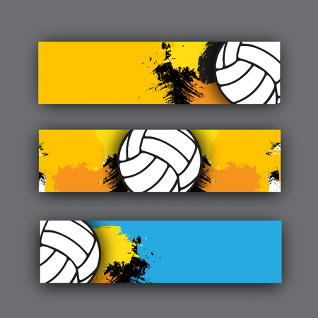 collection of vector banners volleyball theme. Volleyball ball on background. Beach Volleyball header for website or print