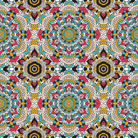 gobelin: Vector seamless pattern. national decorative element for fabric ot design. Islam, Arabic, Indian, ottoman motifs. Oriental colorful mandala.