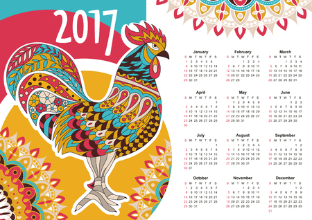 planner: calendar 2017. Colorful rooster - the symbol of the Chinese New year.