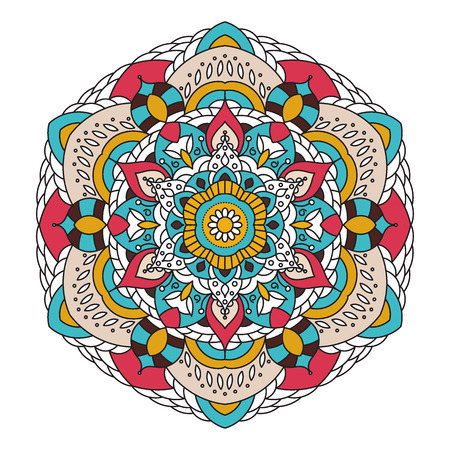 Decorative arabic round lace ornate mandala. Vintage vector pattern for print or web design. Mandala abstract colorful background. Invitation, wedding card, national design. Illustration