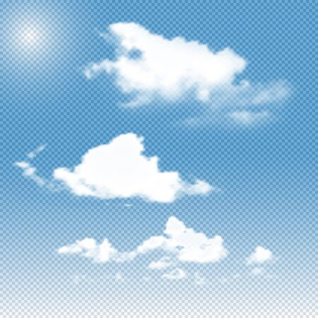 fluffy clouds: vector realistic transparent clouds on sky background. Set of different fluffy clouds gradient mesh Illustration