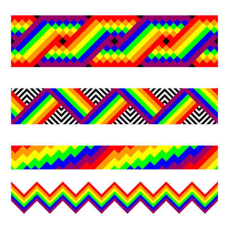rainbow colors: Vector seamless brushes in rainbow colors.