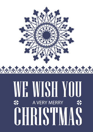 snow chain: We wish you a very Merry Christmas. Greeting card. winter ornament. Vector pattern snowflake.