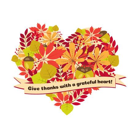 인용 벡터 포스터 - 감사하는 마음으로 감사를드립니다. 심장의 모양에 단풍과 열매와 함께 행복 한 추수 감사절 카드 템플릿입니다. 일러스트