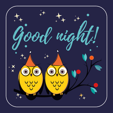 good s: a couple of cute vector owls with hats on the tree branch. Children s illustration with quote good night for the cards. Owls design for printing on paper, fabric or web design Illustration
