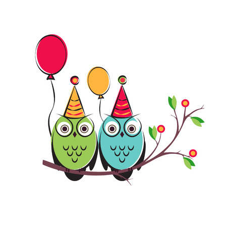 children s: vector cute owls couple with balloons on the tree branch. Isolated design on a white background for a happy birthday. children s illustration for postcards.