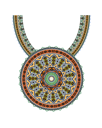 necklet: Vector Ethnic necklace Embroidery for fashion women. Pixel tribal pattern for print or web design. jewelry, necklace, print on fabric.