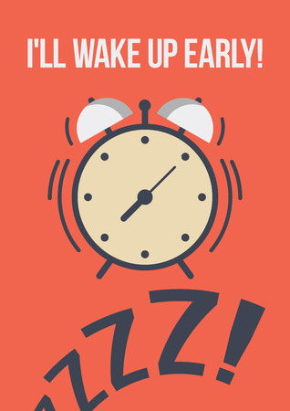 tinkle: vector template poster quote - I ll wake up early the alarm clock in the style of flat. the motivation for early recovery