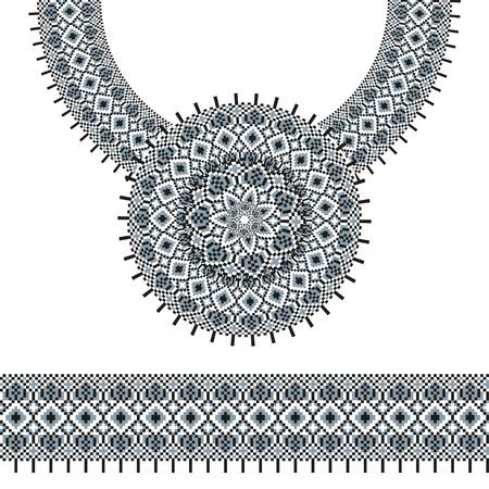 Vector ethnique broderie collier pour les femmes de la mode. Pixel motif tribal pour l'impression ou la conception web. bijoux, collier, impression sur tissu. brosse ornement Seamless