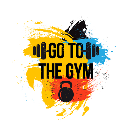 black kettlebell on colorful brush background with motivation text - go to the gym.Fitness quote. Vector illustration.