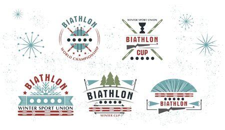 Biathlon   Set. Vector Illustration. Winter sport Isolated badges collection for design