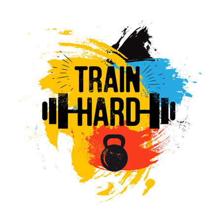 hand with dumbbell: black kettlebell and barbell on colorful brush background with inspirational phrase - train hard. Fitness sport quote. Vector illustration for bodybuilding club, t-shirt, poster.