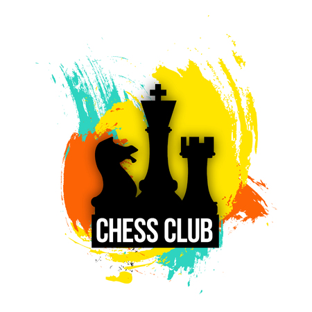 bright logo for a chess companies, club or   player. Emblem vector illustration on the colorful background