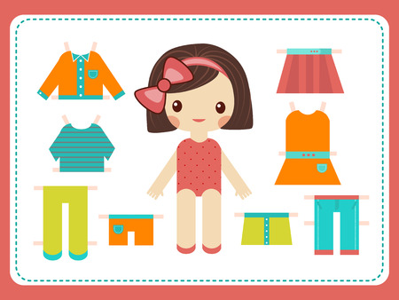trouser: Cute female paper doll with the variety of bright colorful clothes. Girl vector illustration