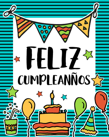 Feliz cumpleanos, happy birthday in spanish language, poster