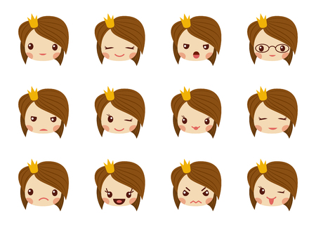 Cute girl face with red bow showing the different emotions vector illustration. Vector set of emoji