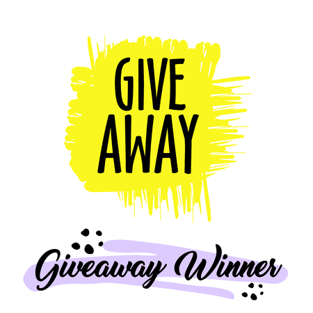 Giveaway handwritten lettering text and bright design elements