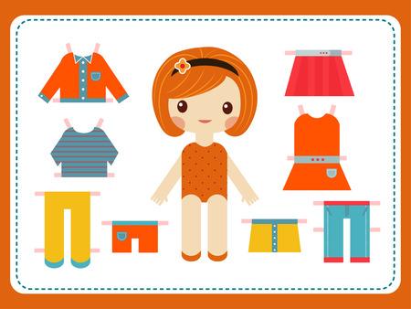 Leuke vrouwelijke papieren pop met de verscheidenheid van heldere kleurrijke kleding vector illustratie. Vector Illustratie