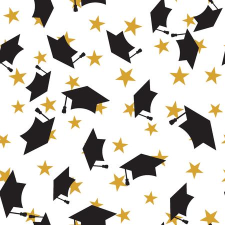 master degree: Graduate hat seamless pattern