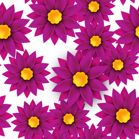 gerbera daisy: Flower seamless pattern, paper cut, on white background