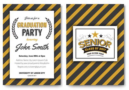 卒業パーティのベクトル テンプレート招待状  イラスト・ベクター素材