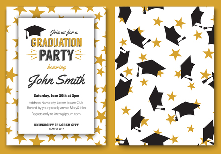 Graduation party vector template invitation