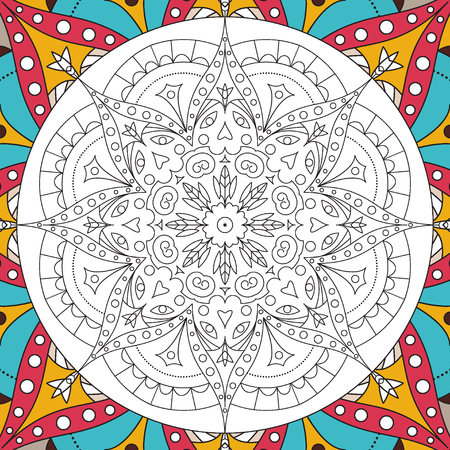 Printable antistress coloring book page for adults - mandala design, activity to older children and relax adult. vector Islam, Arabic, Indian, ottoman motifs. Illustration