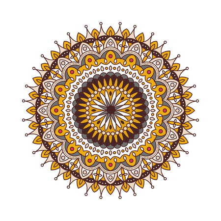 traditional pattern: Decorative arabic round lace ornate mandala. Illustration