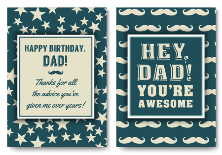 Dad birthday card with words of love Illustration