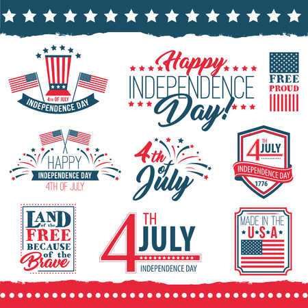 declaration of independence: Independence Day of the United States poster set Illustration