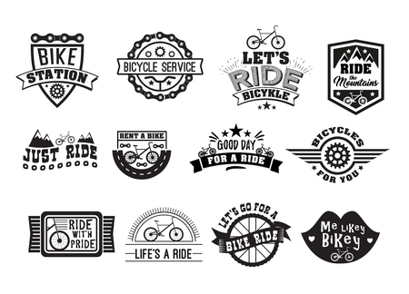 Bike badge vintage set. Sports   sticker for print on t-shirt, retro monochrome design, shop for bicycle gear, parts and accessories. Vector flat style illustration isolated on white background