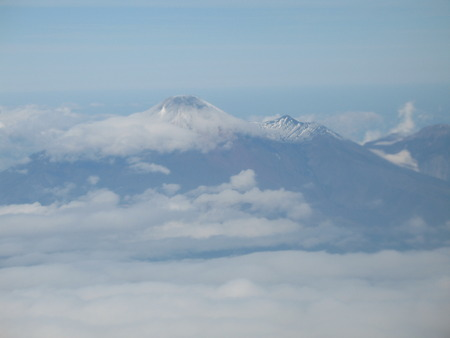 airfield: Kamchatka volcano. View in aircraft window