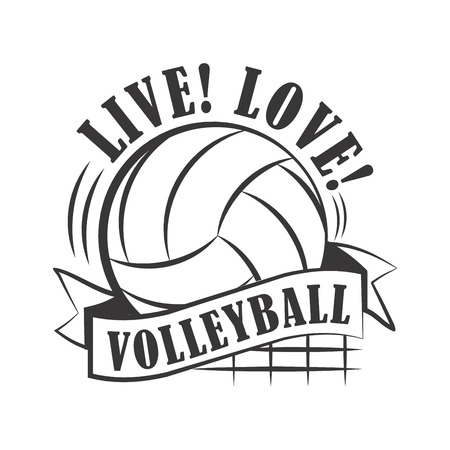 Yellow volleyball emblem Stock Illustratie