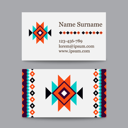 asian business: Set of geometric tribal colorful business cards - ethnic style templates